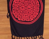 Chinese Trigram of Health, Wealth, Success Long Scarf. Prosperity Increase Feng Shui brings You Luck Black and Red