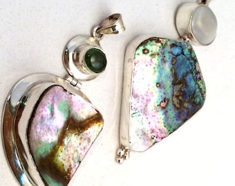 Abalone Shell Pendant. Sterling Silver, Hinged with Opal or Aquamarine. free US ship