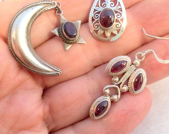 7 different Red Garnet Earrings, Sterling Silver. free US ship