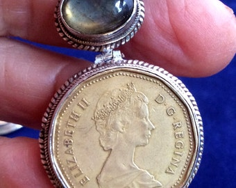 1989 or 1988 Canadian Dollar Coin w/ Ruby or Labradorite Pendant. Hinged, Sterling Silver, free US ship 55.02 ea