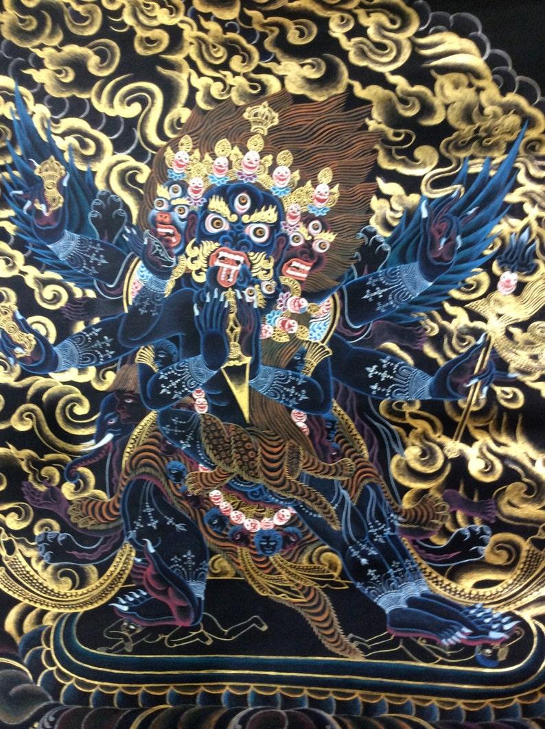 Large Tantric Wrathful Deity Vajrakilaya Dorje Phurba Thangka  24k Gold  Painted on Black  Tibetan Buddhist, Dragon  free US ship
