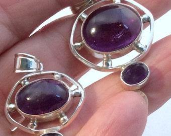 Purple Amethyst  Pendant. Sterling Silver, free US ship