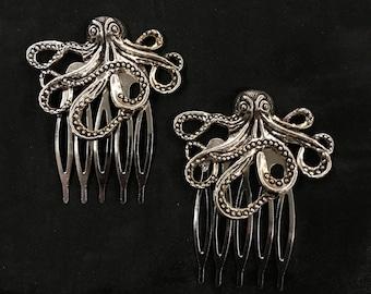 Silver Hair Comb, Octopus, Sea creature, Animal Hair Comb, Sea Hair Combs, Marine Animal, Octopus Hair Comb, Octopus Jewelry, Cephalopod