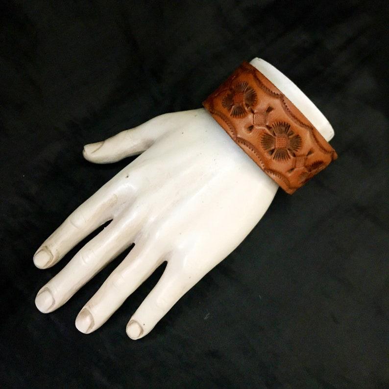 Vintage Wrist Cuff Men\u2019s Wrist Cuff Southwestern Recycled Vintage Belt Leather Wrist Cuff Tooled Leather Embossed Pattern