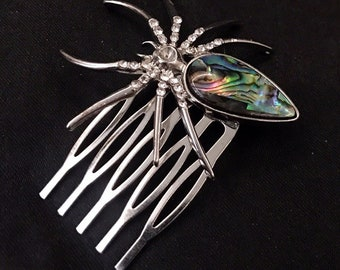 Hair Comb, Spider Hair Comb, Goth Hair Comb, Goth Hair, Spider Hair, Spider Jewelry, Halloween Hair, Mother Of Pearl, Jeweled Spider