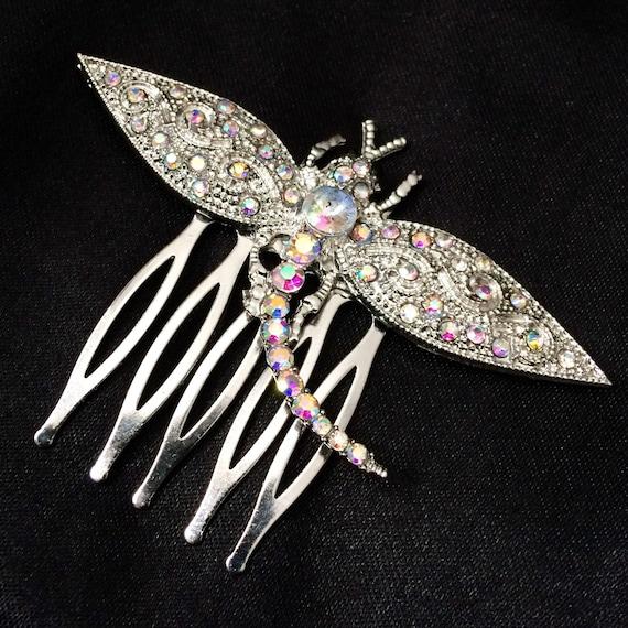 Silver Metal Hair Pin Moon And Stars Jeweled Star Sparkling Star Star Jewelry Night Sky Star Hair Star Hair Comb Silver hair comb