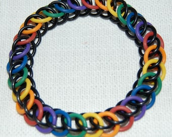 Stretchy black and rainbow chainmaille bracelet