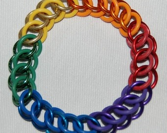 Stretchy Gay Pride rainbow chainmaille bracelet