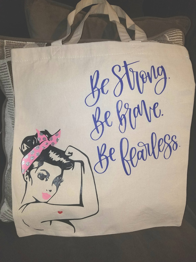 black and purple vinyl lettering groceries shopping books funny and cute! Rosie the riveter be strong Custom natural canvas tote bag pink