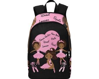 618e55fc91 African American Ballerina Travel Backpack Traveling Laptop School Free USA    International Shipping