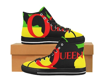 b005aeb25b4 African Queen High Top Sneakers Tennis Shoes Ethnic Print Red Green Yellow  Black Free Worldwide Shipping