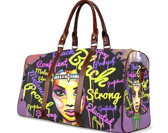 Chocolate Queen Beautiful Print African American Woman Travel Purse Duffle Bag Free Worldwide Shipping