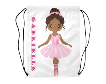 1e0d3bb654c8 African American Personalized Ballerina Drawstring Tote Exercise Bag Ethnic  Dance Class Recital Studio Backpack Free Shipping Worldwide