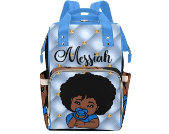Crowned Prince Personalized African American Baby Boy Backpack Diaper Clothing Bottles Bag Unique Print Baby Shower Gift Mommy Daddy