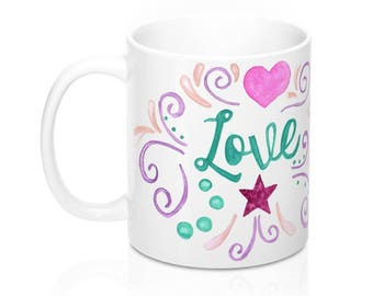 Watercolor Love Hearts Stars Coffee Tea Hot Chocolate Mug Home Decor Kitchen Gift