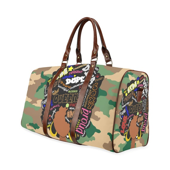 65f8814eda Afro On Camo Strong Words African American Style Print Duffle