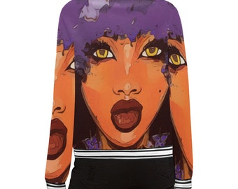 African American Purple Flower Afro Hair Bomber Jacket Free Shipping