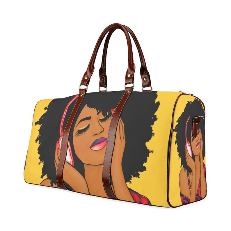 18306afe024d African American Afro Woman Listening To Music Travel Purse