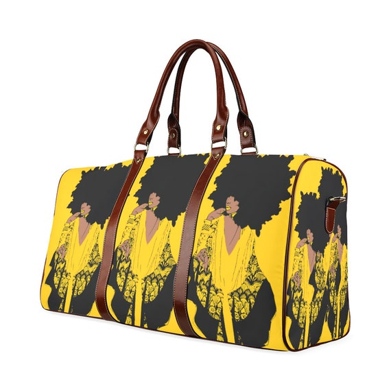 72261f41d169 Afro Golden Elegant Styled Woman African American Print Duffle