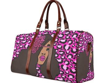 Black Woman Cheetah Print African American Woman Travel Purse Duffle Bag Free Worldwide Shipping