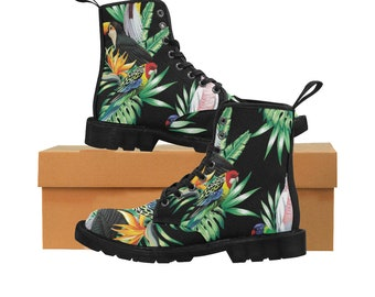 Tropical Birds Boho Bohemian Style Canvas Combat Boots One Of A Kind Print Free Shipping Worldwide