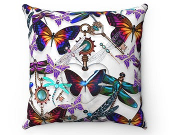 Butterfly Dragonfly Key Locket Throw Pillow Home Decor House Warming Gift Steampunk Bedroom Living
