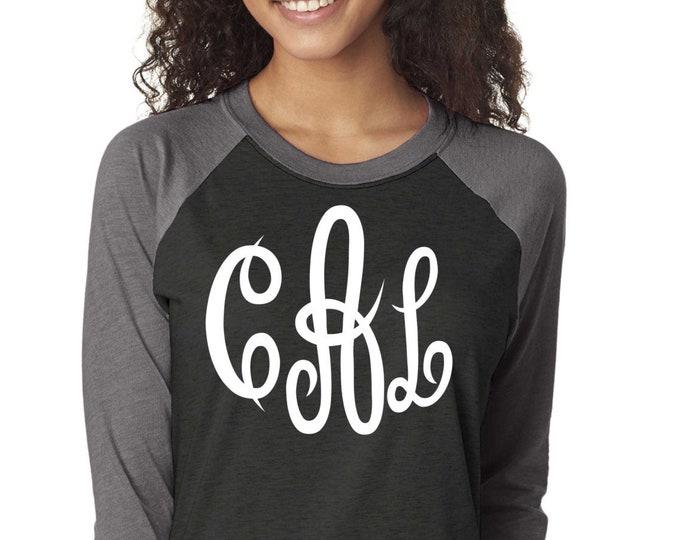 Monogram raglan t-shirt for women , monogrammed gifts , Cute monogram shirts , monogram long sleeve clothing, Christmas gift ideas, holiday