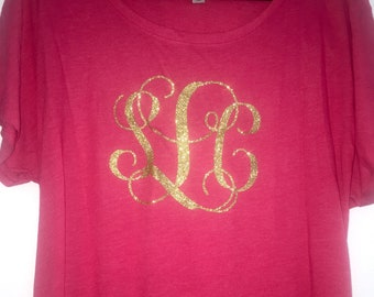 Bridesmaid Shirts , Three initial monogram shirt , long , flowy , oversized bridesmaid tshirts , wedding shirts , bridesmaid outfits.