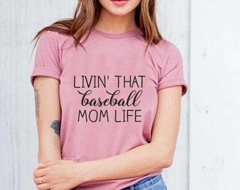 Living that baseball mom life shirt , Cute baseball mom shirt, sports mom shirt, funny shirts for baseball mom , travel baseball shirts