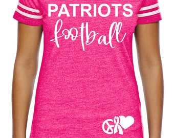 Custom Ladies Breast Cancer Football Shirt , Friday Night , Football tshirts,  hot pink awareness night shirts , custom football tees, mom