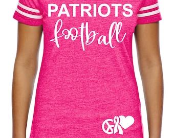 Custom Ladies Breast Cancer Football Shirt , Friday Night , Football tshirts,  hot pink awareness night shirts , custom football tees, mom