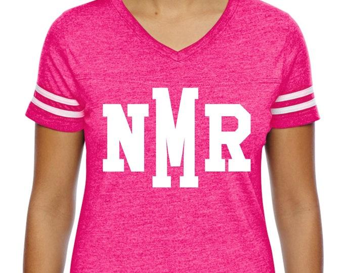 Breast Cancer Monogrammed Shirt, Monogram shirt, Hot pink and white monogram tshirt, custom three letter college style monogram tee