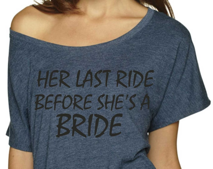 Bridal Entourage Shirts . Gold Glitter Bridal Party T-shirts. Her Last Ride Before She's a Bride Tshirt / Bachelorette oversized Shirt.