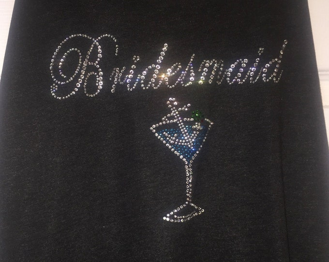 Bridesmaid shirts - crystal martini anchor collection - bridal party shirts with nautical theme - cruise bachelorette party tank tops ladies