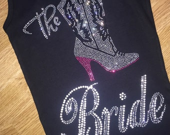 Texas The Bride Tank Top with bling , Bachelorette party shirts , Rodeo Bridesmaid tank , Cute Nashville shirt , Nash Bachelorette Party tee