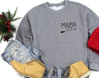 Cute custom Bridal Party Sweatshirts , Mama with arrow brides maid shirt , Bridesmaid sweaters , pullover, fleece sweatshirts for bride