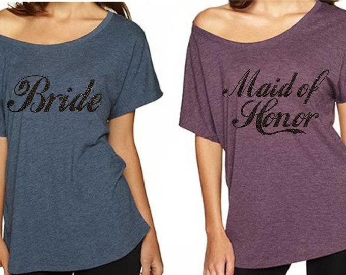 Bridesmaid oversized t-shirt . Bridesmaid shirts . Wedding shirts . Bridesmaid proposal gift . Maid of Honor tees short sleeve t-shirt.