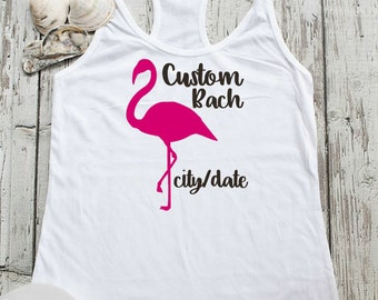 Flamingo Bachelorette Shirts - Custom Bachelorette Party Tank Tops - Personalised Bridesmaid shirts - Beach wedding themes - Bachelorette