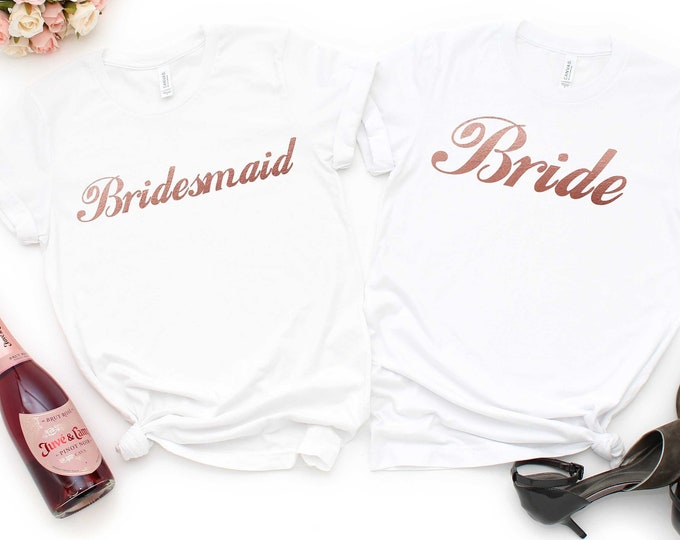Rosegold Bridesmaid shirts, Getting ready outfit , Maid of honor shirt, Bride t-shirt , Cute unisex bridesmaids' shirts , Bridal party gifts