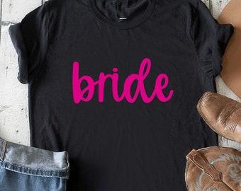 bride shirt - bride t-shirt hot pink writing - ros gold - bride shirts - gift for bride - bachelorette shirt - cute bride to be t-shirt -