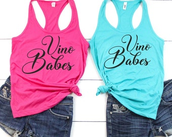 Vino Babes Bachelorette party shirts , bride , brides , Wine drinking tasting shirts for women, winery tank tops , cute bachelorette tees
