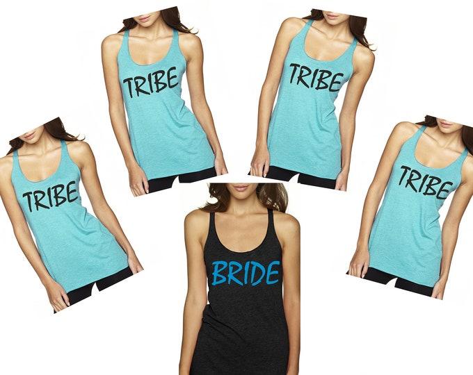 6 SIX TRIBE SHIRTS . bride shirt . Bridesmaid tanks . bachelorette party . bachelorette shirts . bachelorette tank tops . bridesmaid tee.