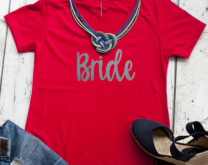 Bride V neck t-shirt - cute Bride shirt - Bride to be gift - gift for the bride - bridesmaid shirts - bachelorette party t-shirt - weddings