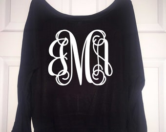 slouchy off the shoulder monogrammed sweatshirt . monogram shirts - tri blend - black and grey gold letters - XXL, XL, Large, medium, small