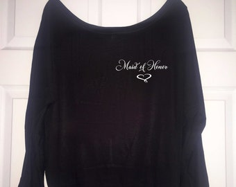 Maid of honor getting ready shirt , Soft, off the shoulder bridesmaid t-shirt , long sleeve bridal party shirts , getting ready outfits