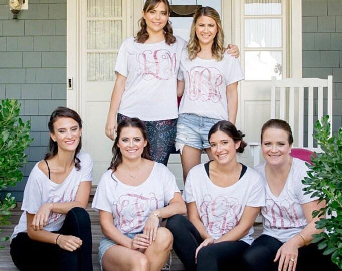 Monogrammed Bridesmaid shirts , Bridal party shirts with custom monograms , off the shoulder t-shirts ,  getting ready outfits bridesmaid