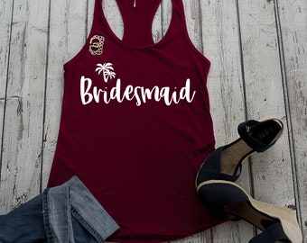 Bridesmaid tanks , tropical wedding , bridesmaid gifts , palm tree bride shirt , maid of honor tank, beach weddings, bridal party tee shirts