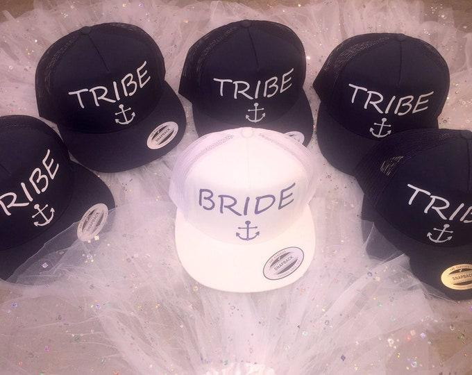 Bridesmaid bachelorette hats / Nautical Baseball caps / Tropical wedding / tribe anchor hats / Bridesmaid trucker hats / Cute bridesmaid hat