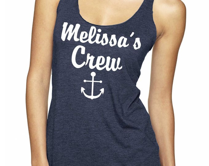 Custom Bride's Crew Shirts . Bachelorette Party Tanks . Bachelorette Nautical Shirts . Personalized Anchor crew Tank Tops .  Navy and white