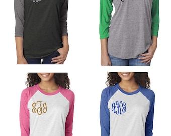 Set of 5 bridesmaid monogram shirts . Christmas shirts . Monogram raglan baseball shirts . Baseball t-shirts . Monogram initial tees